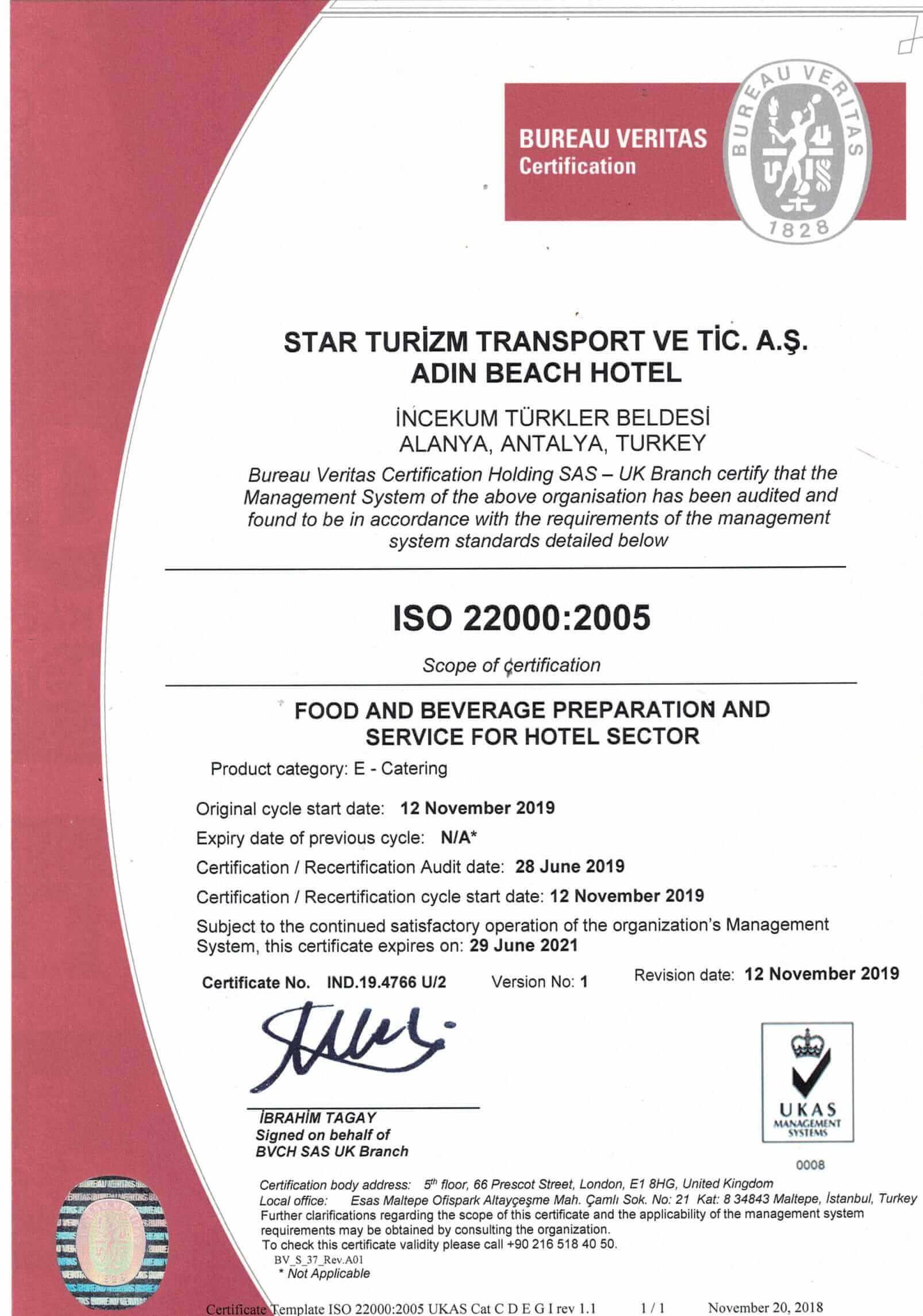 İSO 22000 belge